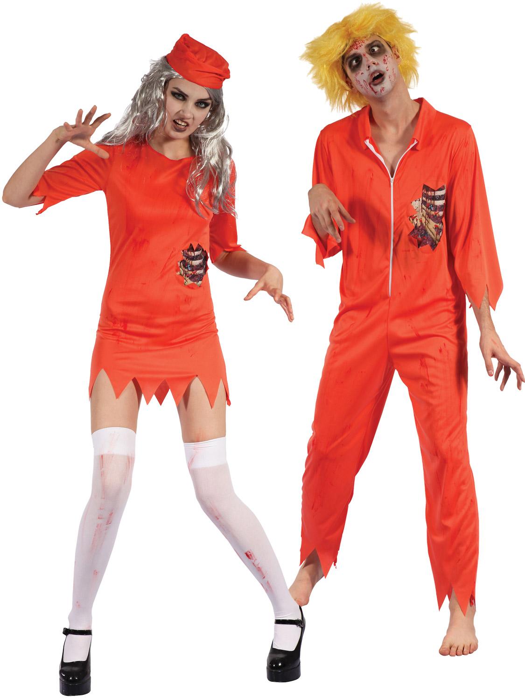 mens ladies zombie prisoner costume halloween convict fancy dress