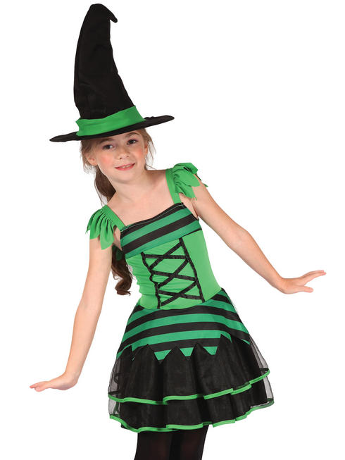 Girl's Green & Black Witch Costume
