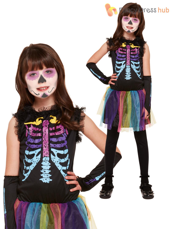 Girls Glitter Skeleton Tutu Costume Day Of The Dead Halloween Fancy Dress Kids
