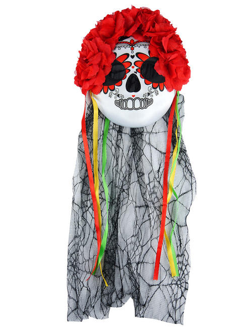 Ladies Day of the Dead Veil with Flowers