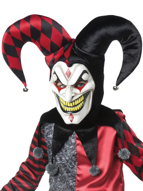Adults Jester Mask With Hat & Collar