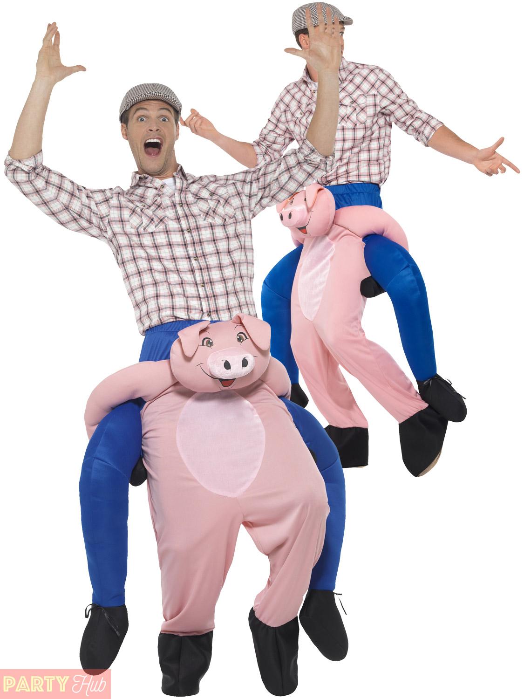 Adult Animal Piggy Back Costume Mens Novelty Fancy Dress Funny Stag ...