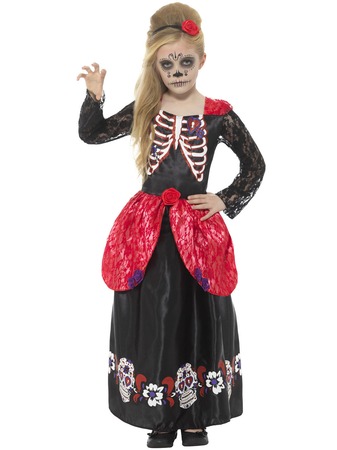 Girls Day of the Dead Costume Mexican Kids Halloween Fancy Dress Age 3-13