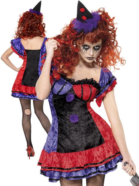 Ladies Cirque Sinister Bo Bo The Clown Costume
