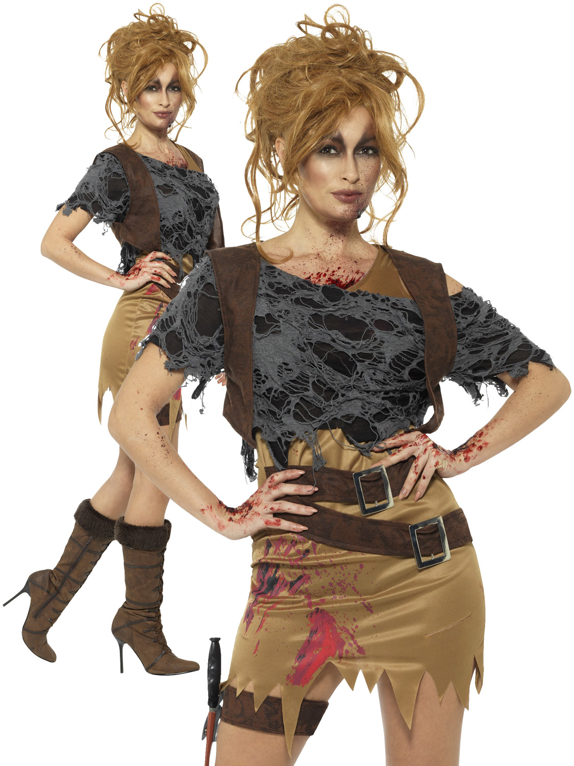 ladies deluxe zombie huntress costume | all halloween | fancy dress hub