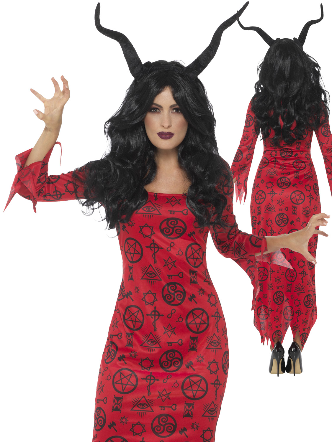 Ladies occult red devil costume womens scary hell halloween fancy transform yourself into a creature from hell this halloween with this ladies occult devil costume solutioingenieria Image collections