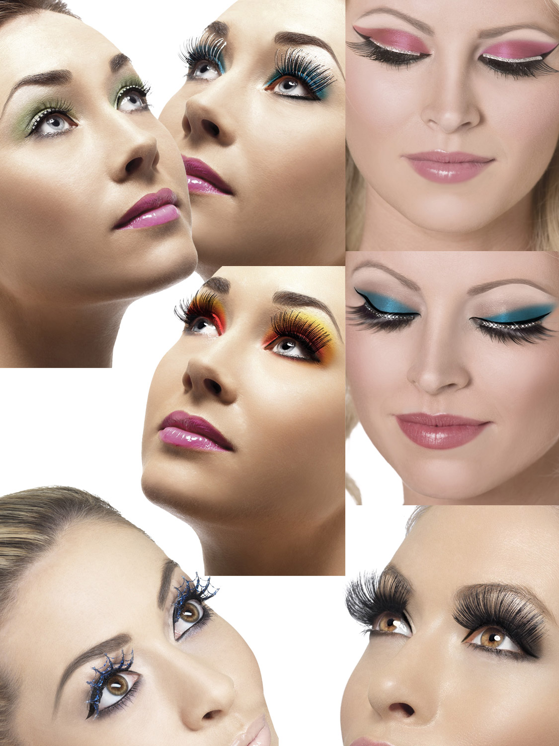 Ladies Fake False Eyelashes Womens Halloween Fancy Dress Costume