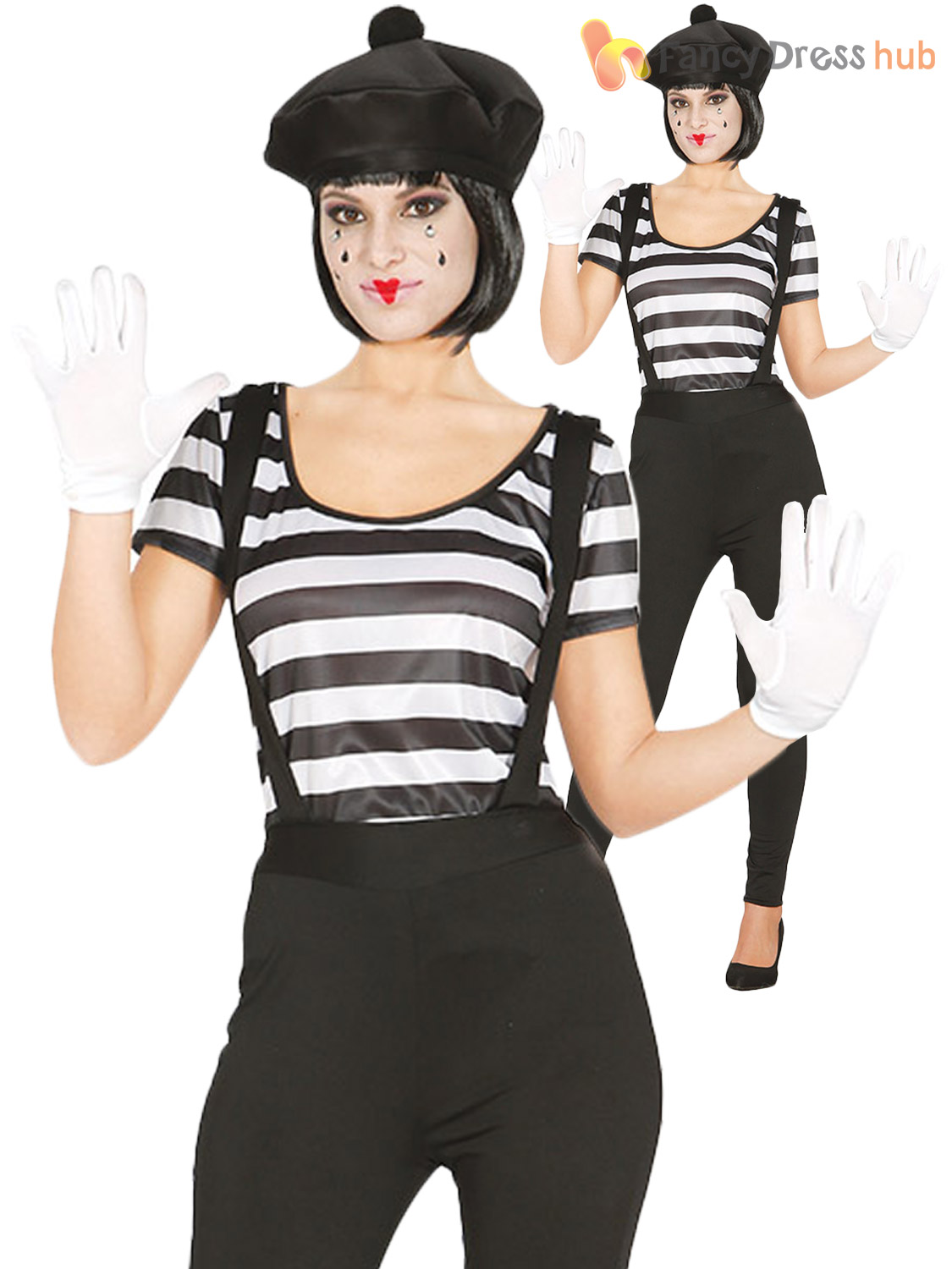 Ladies-Mime-Artist-Costume-Adults-French-Fancy-Dress-  sc 1 st  eBay : a mime costume  - Germanpascual.Com
