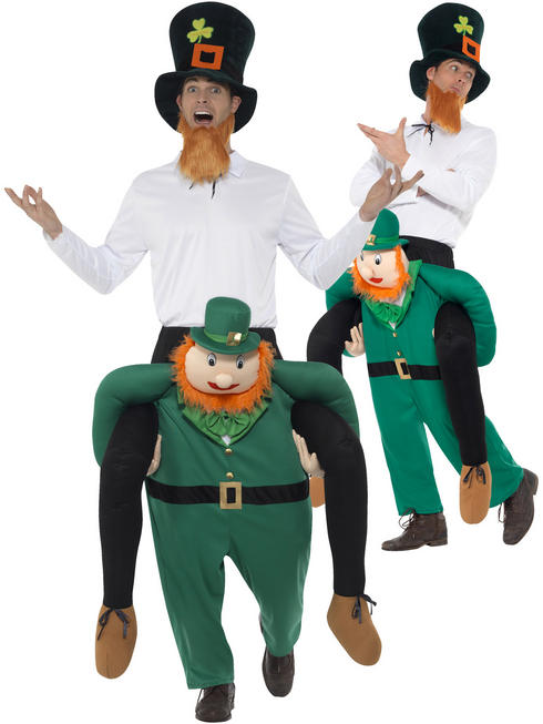 Adults Leprechaun Piggy Back Costume Mens St Patricks Fancy Dress Irish Outfit