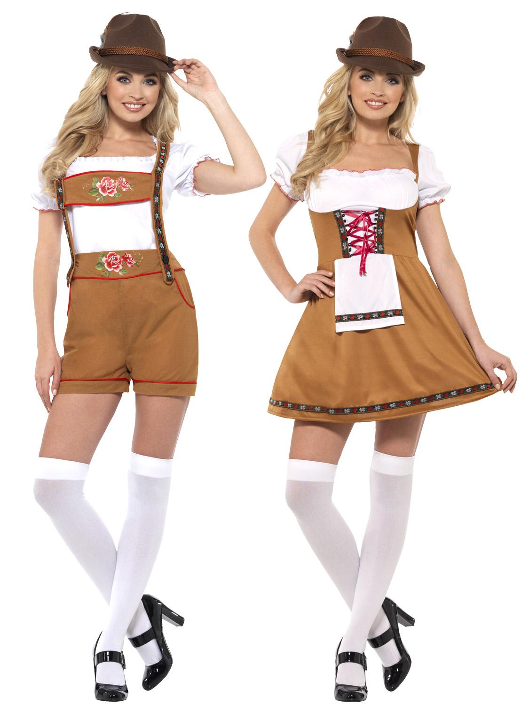 2669308dc59 Details about Ladies Bavarian Maid Costume Oktoberfest Fancy Dress Womens  German Lederhosen