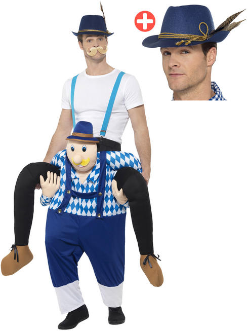 Adult's Bavarian Piggyback Costume + Hat