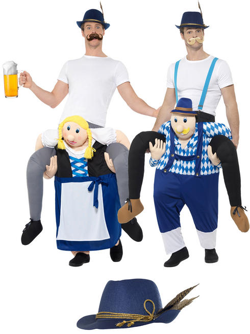 Adult Oktoberfest Piggy Back Costume + Hat Mens Bavarian Fancy Dress Beer Outfit