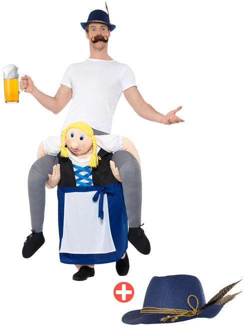 Adult's Beer Maiden Piggyback  Costume + Hat