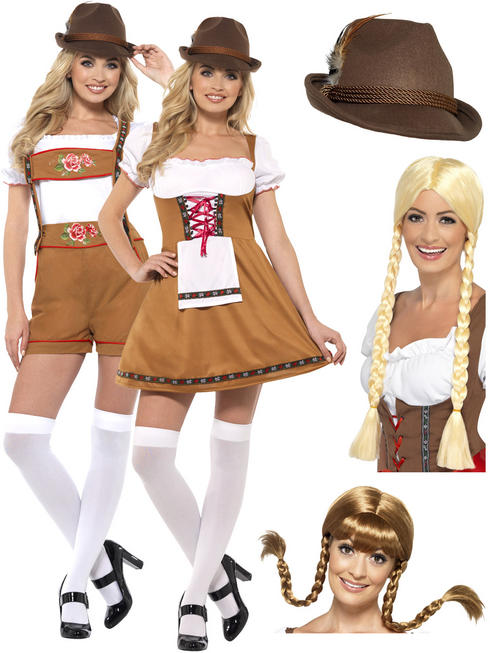 Ladies Bavarian Beer Girl Costume + Hat / Wig