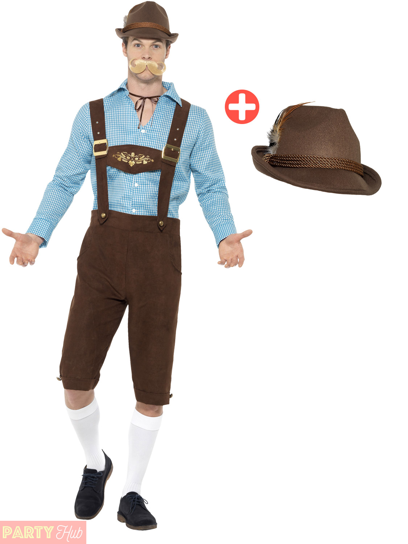 Adult Bavarian Costume + Hat   Wig Men Ladies Lederhosen Fancy Dress ... 1d0b0828c