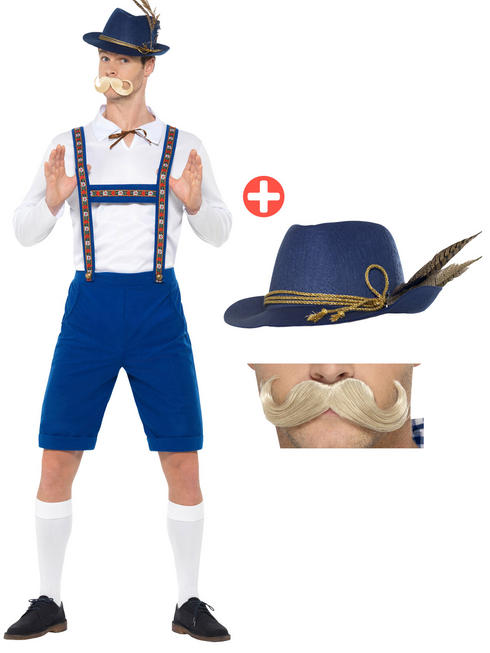 Men's Bavarian Costume + Hat + Tash