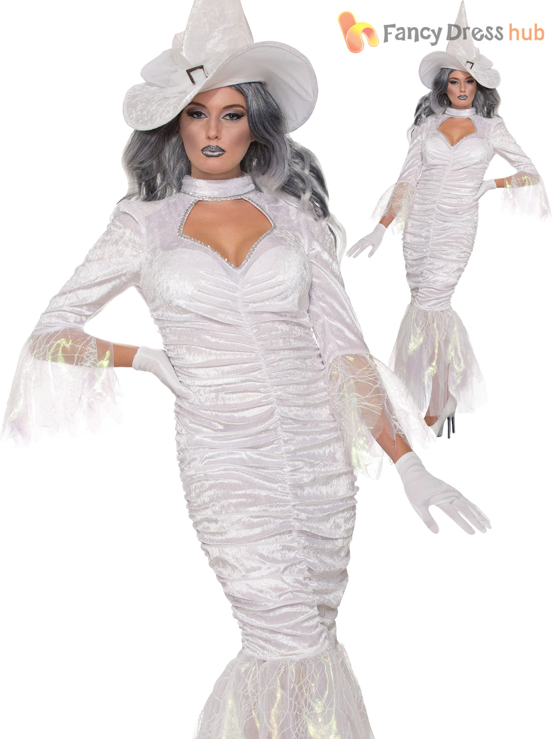 ladies white witch costume hat adults halloween fancy
