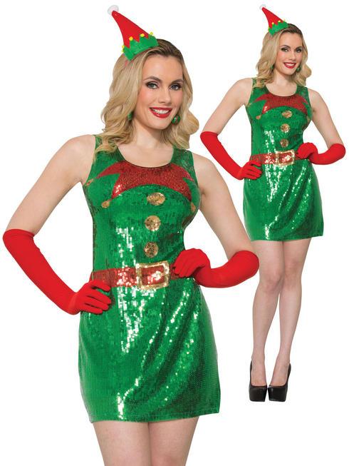 Ladies Elf Sequin Dress - X-Small / Small