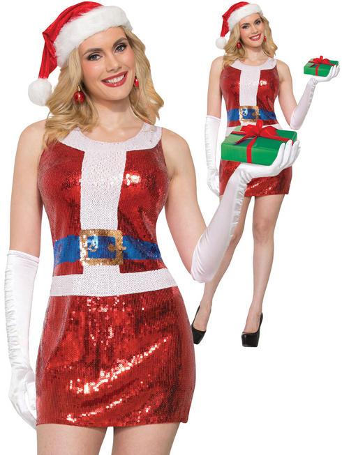Ladies Miss Santa Sequin Dress - X-Small / Small
