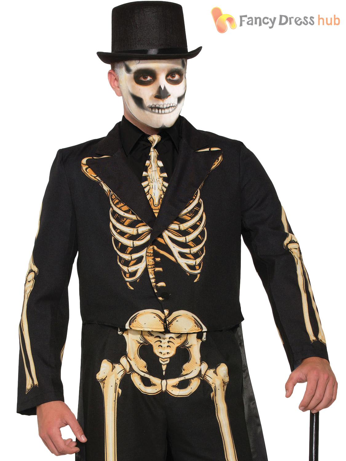 Mens Ladies Skeleton Costume Halloween Suit Dress Fancy ...
