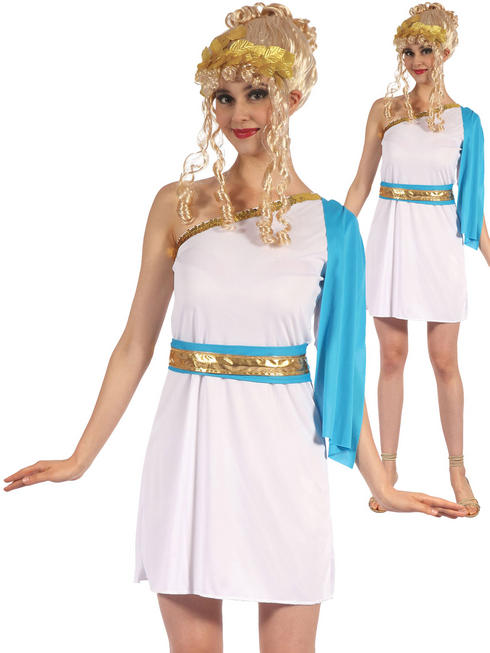 Ladies Greek Goddess With Blue Sash