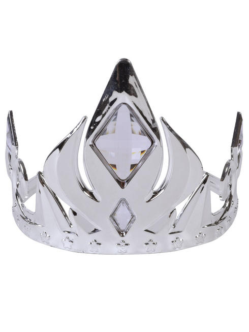Silver Tiara Crown with White Stones