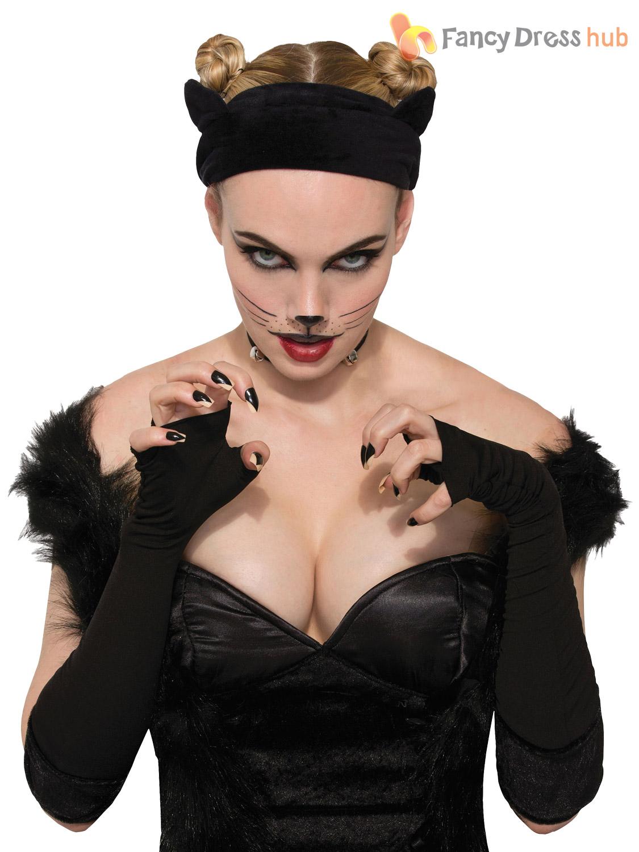 Ladies-Black-Cat-Costume-Accessories-Fancy-Dress-Halloween-  sc 1 st  eBay & Ladies Black Cat Costume Accessories Fancy Dress Halloween Ears ...