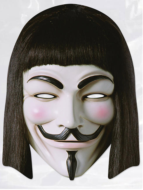 Mens V For Vendetta Card Mask Anonymous Halloween Fancy Dress Costume Accessory