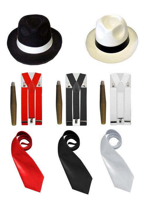 Al Capone Gangster Hat, Cigar, Braces & Tie