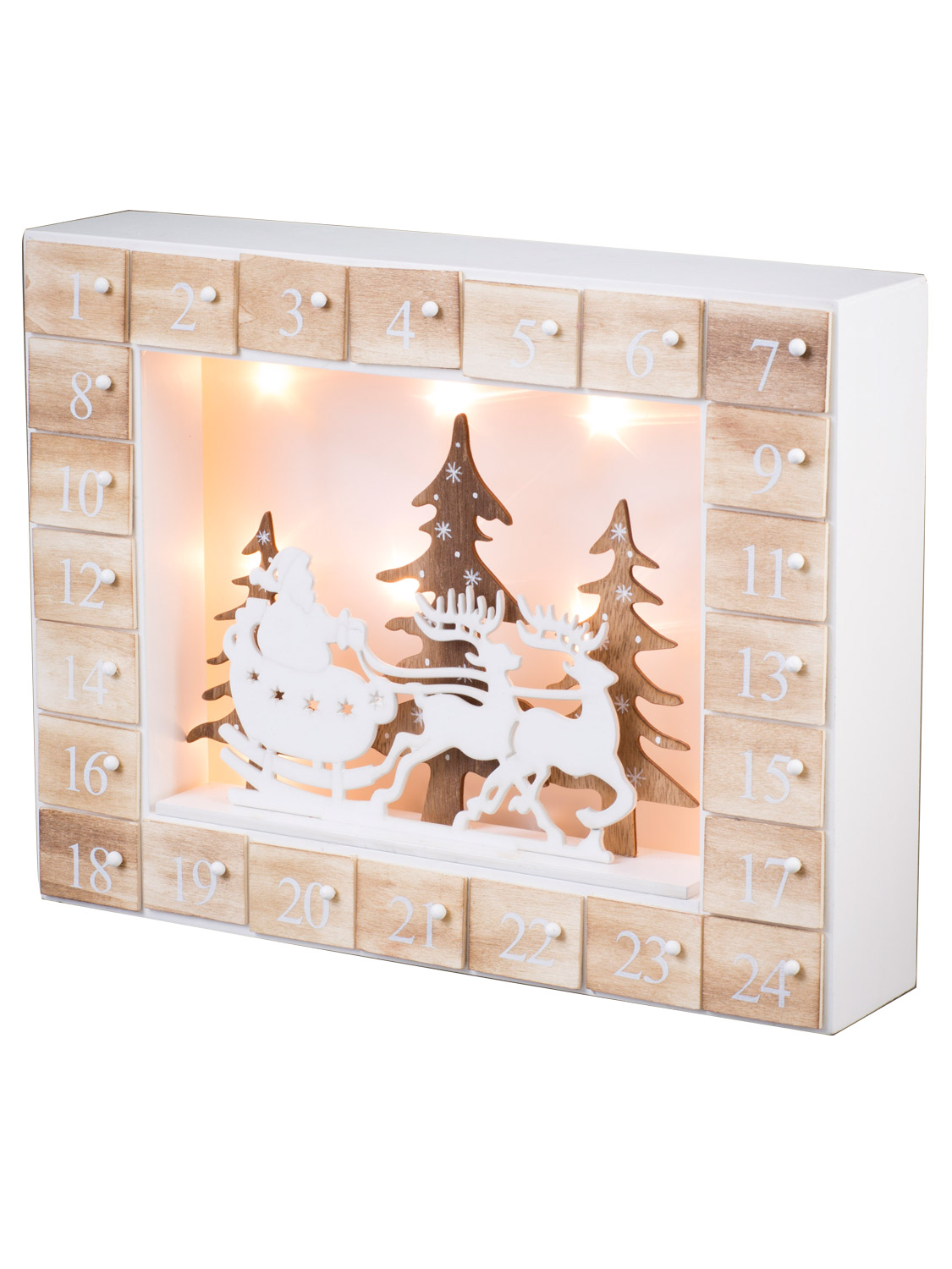 Wooden light up christmas advent calendar led nordic pre for Advent calendar decoration