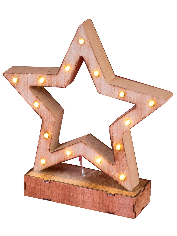 Light Up Wooden Led Christmas Decoration Tree Star Warm