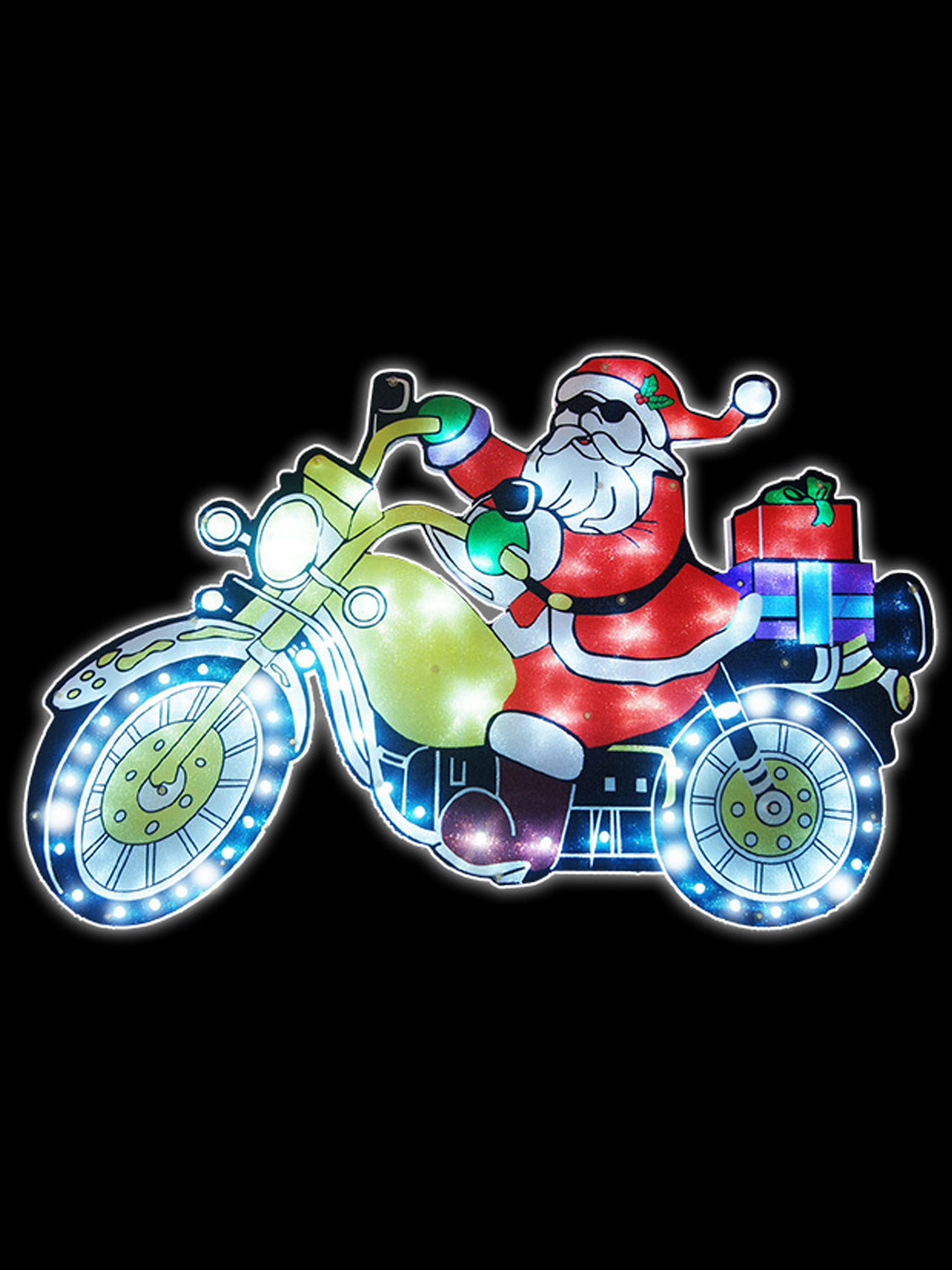 Light Up Christmas Moving Silhouette Helicopter Motorbike