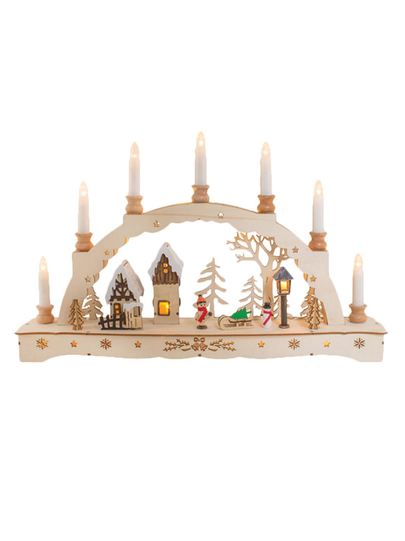 christmas wooden candle bridge light up pine white pre lit. Black Bedroom Furniture Sets. Home Design Ideas