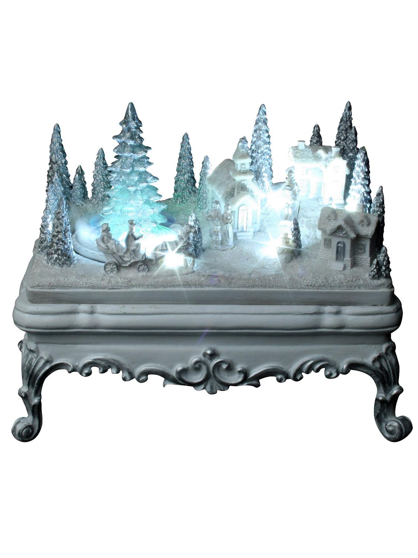 Glitter led wonderland snow scene christmas decoration for Animated decoration