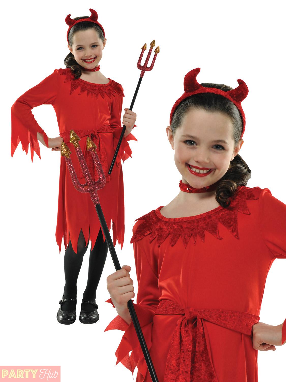Girls,Little,Red,Devil,Costume,Horns,Kids,Halloween,