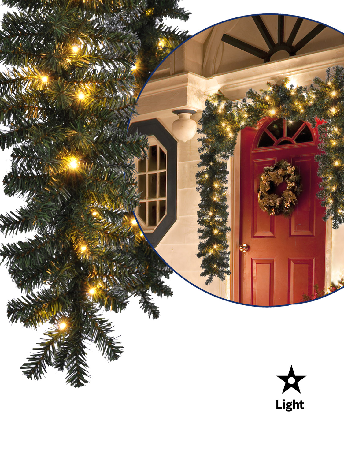5m pre lit christmas garland decoration baubles for Outside christmas baubles