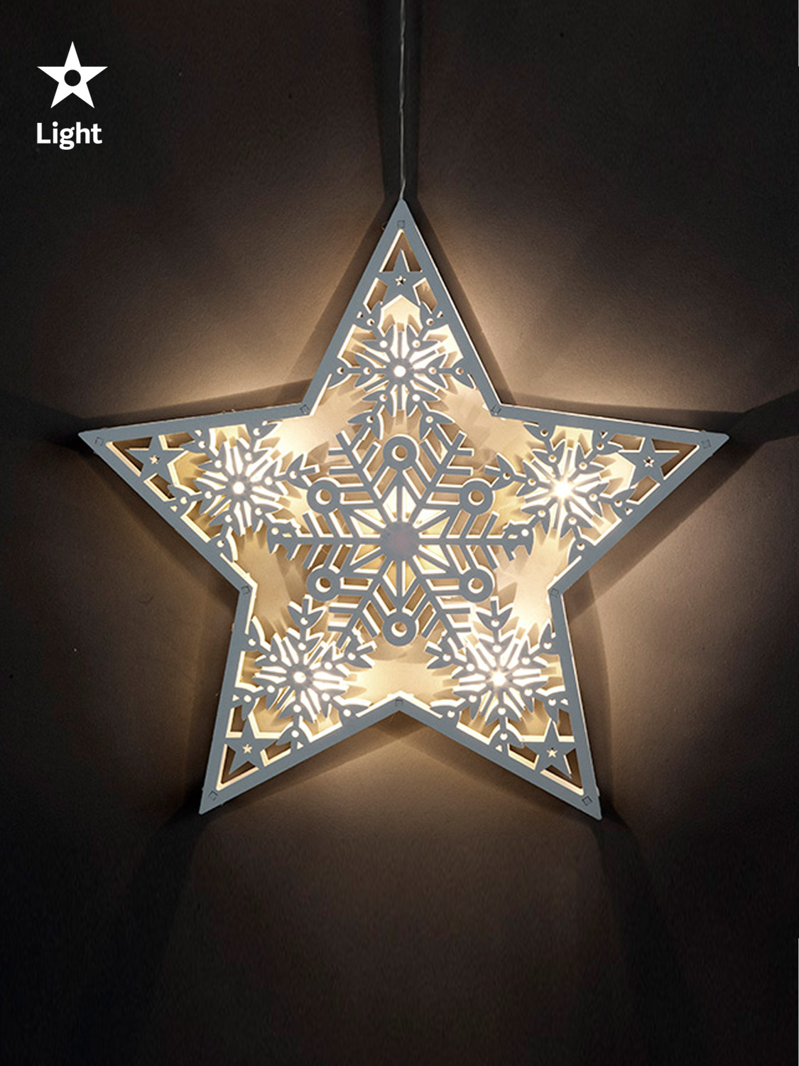 Led Wooden Hanging Star Light Up Christmas Decoration Window Natural