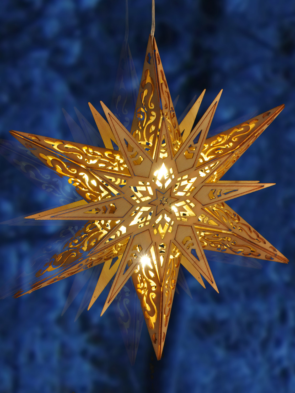 LED Wooden Hanging Star Light Up Christmas Decoration ...