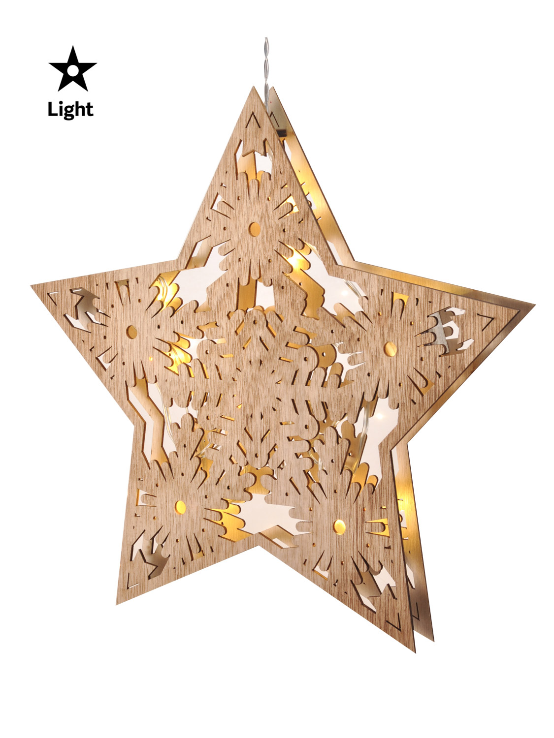 LED Wooden Hanging Star Light Up Christmas Decoration ...