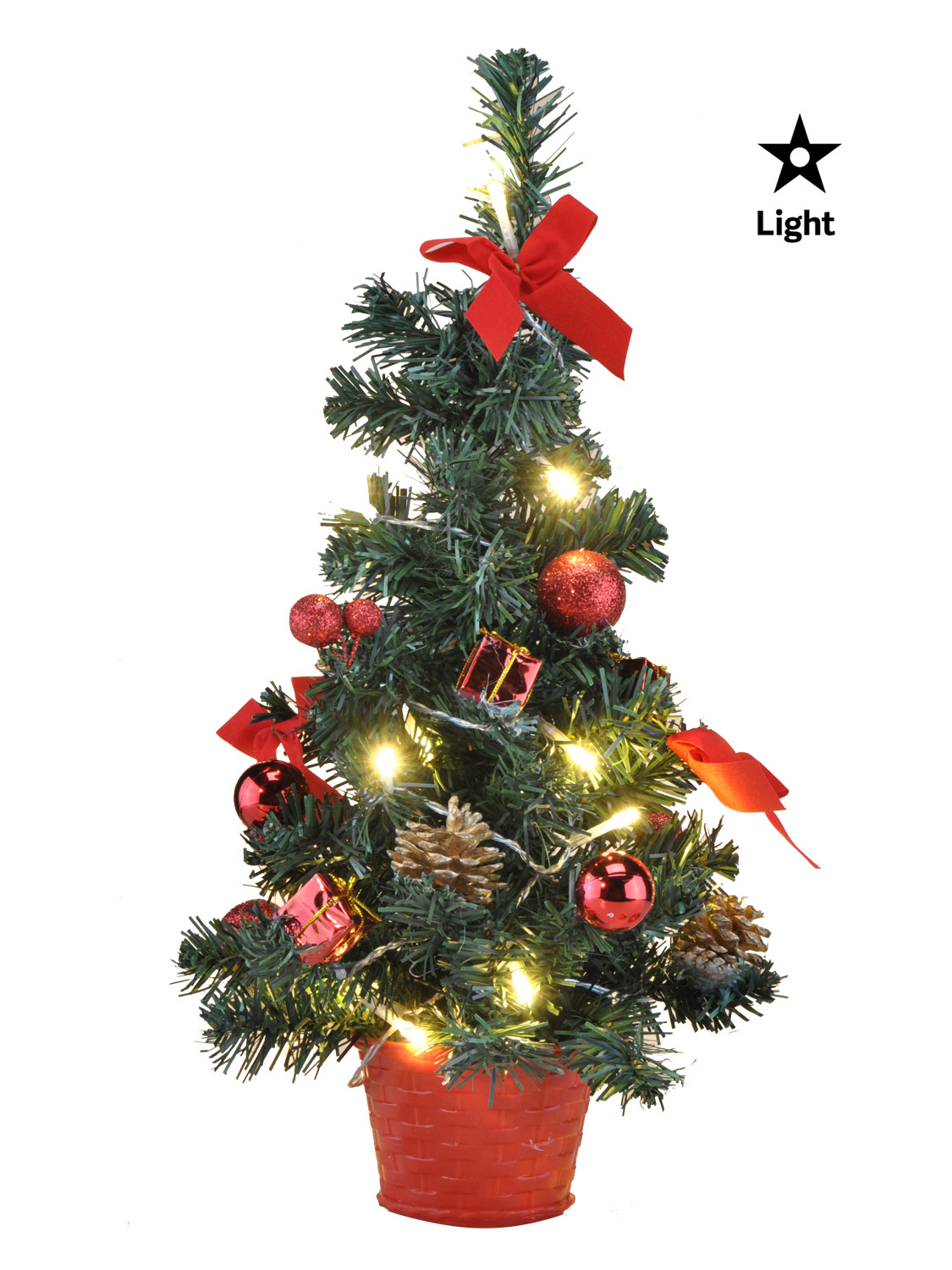 Mini Pre Lit Christmas Tree 75cm 60cm 2ft Artificial