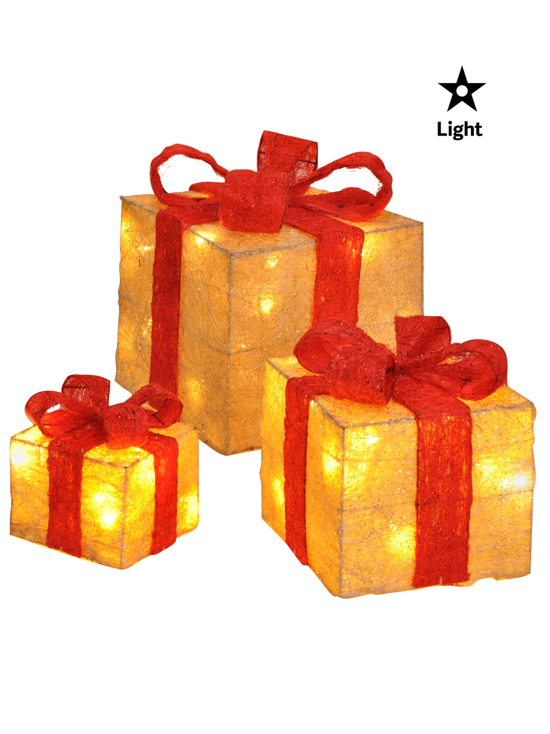Set of 3 led gift boxes decorations light up christmas for Decoration 75019