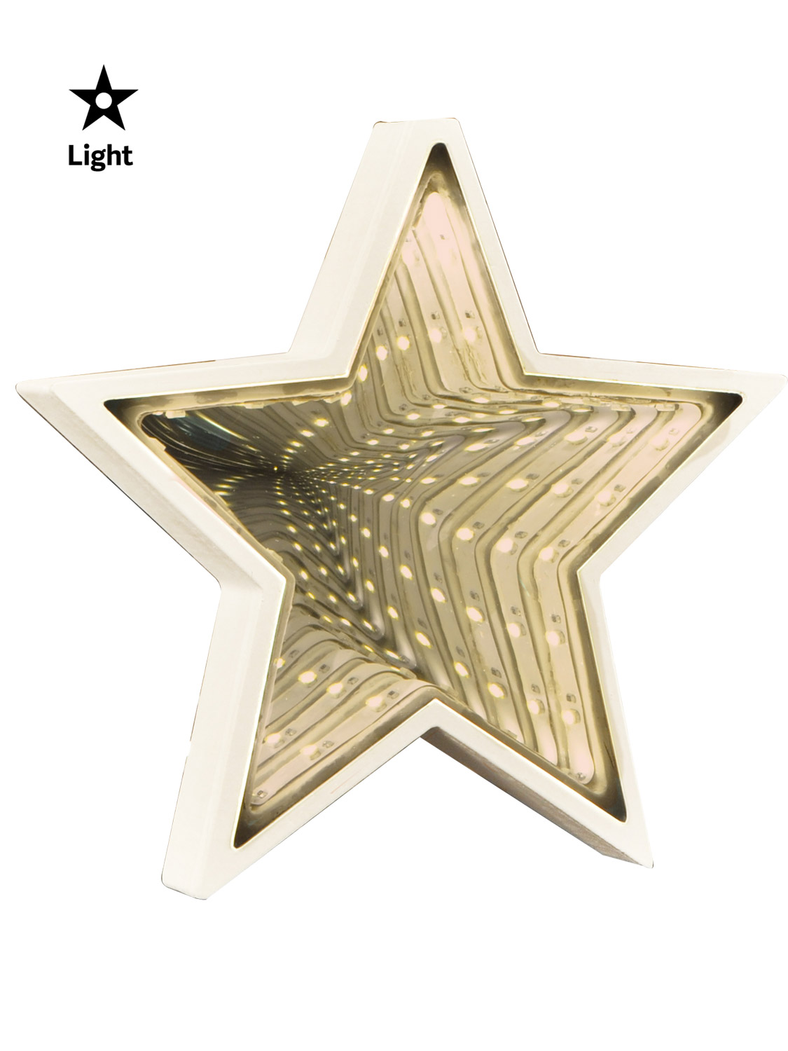 Details about Hanging Light Up Infinity Mirror White Wooden Decoration Christmas LED Star Tree
