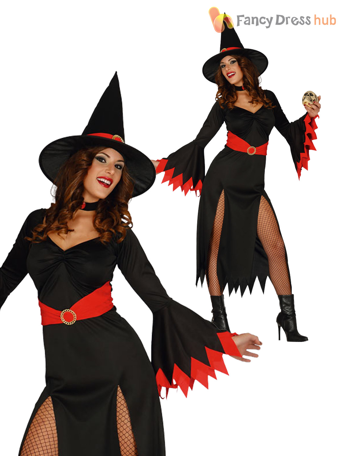 Ladies-Sexy-Red-Wicked-Witch-Costume-Adult-Halloween-  sc 1 st  eBay & Ladies Sexy Red Wicked Witch Costume Adult Halloween Fancy Dress ...