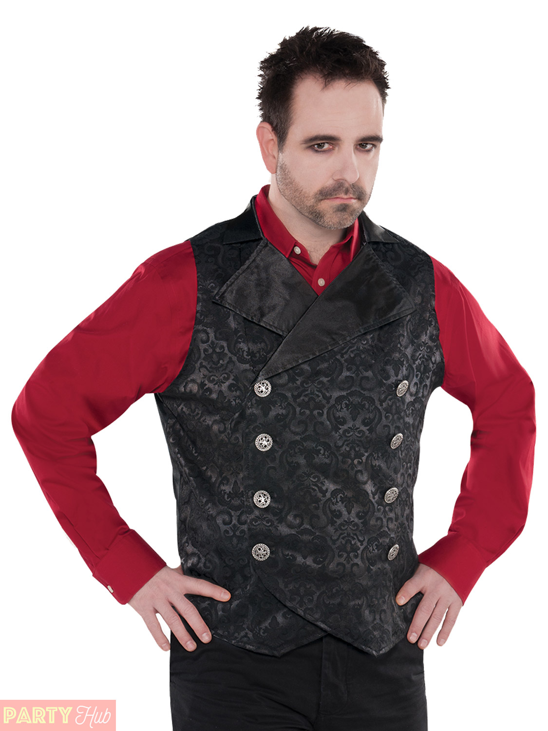 Mens-Gothic-Vampire-Vest-Adults-Halloween-Fancy-Dress-Costume-Accessories