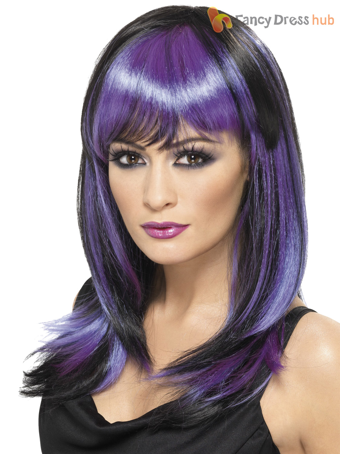 ladies vampire witch wig straight fringe womens halloween fancy dress costume ebay. Black Bedroom Furniture Sets. Home Design Ideas