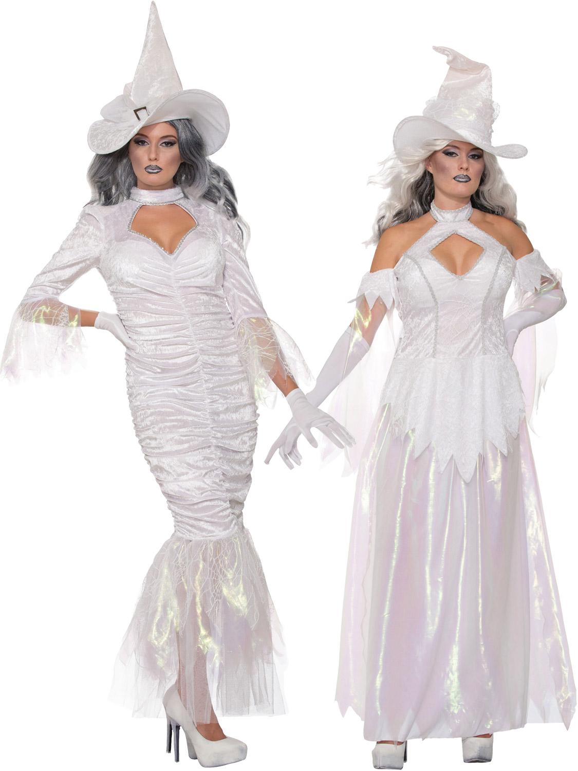 These beautiful ladies white witch costumes are sure to get you plenty of attention this Halloween!  sc 1 st  eBay & Ladies White Witch Costume + Hat Adults Halloween Fancy Dress Outfit ...