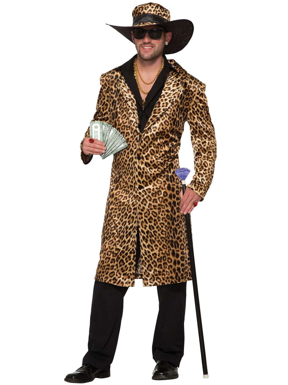 4ac58e3d905b Mens Ladies Leopard Pimp Costume Sexy Animal Gangster Fancy Dress ...