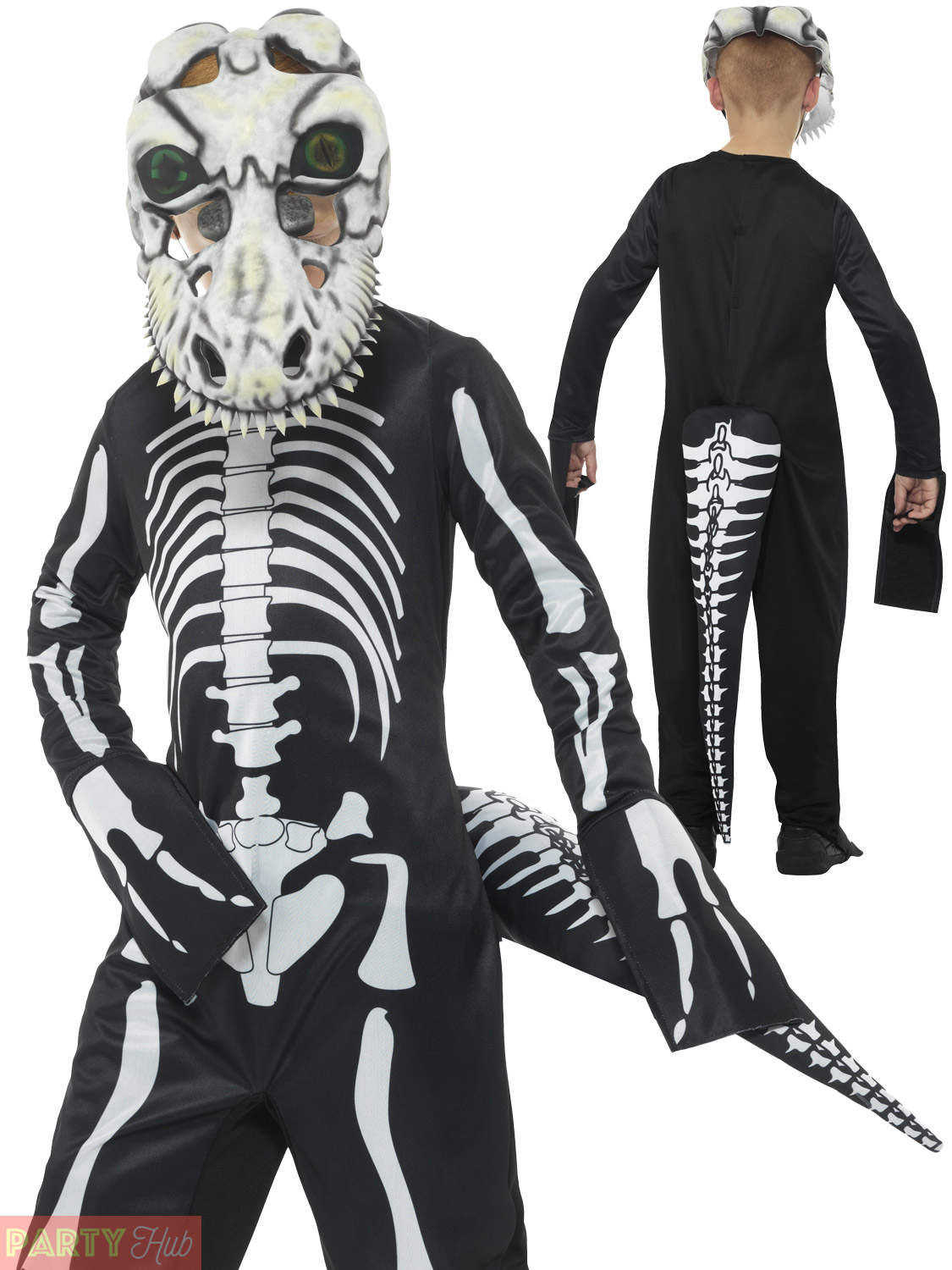 Skeleton Outfit Halloween.Details About Boys T Rex Skeleton Costume Childs Dinosaur Scary Halloween Fancy Dress Outfit