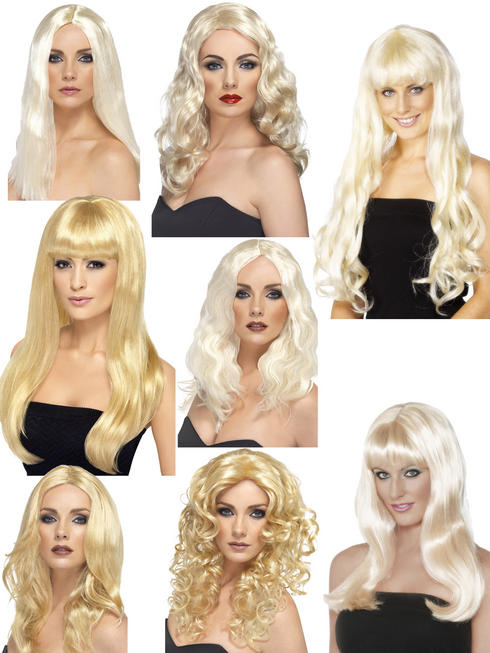 Ladies Blonde Wig Womens Glamourous Celebrity Fancy Dress Costume Accessory