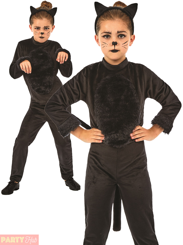 Childs Black Cat Costume Girls Halloween Animal Fancy Dress Kids
